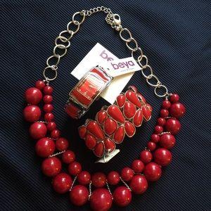 Jewelry - 🦉Red Bundle 🍒 Necklace Watch & Bangle